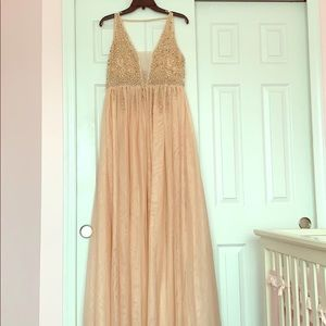 Soft Pink Embellished Tulle Gown